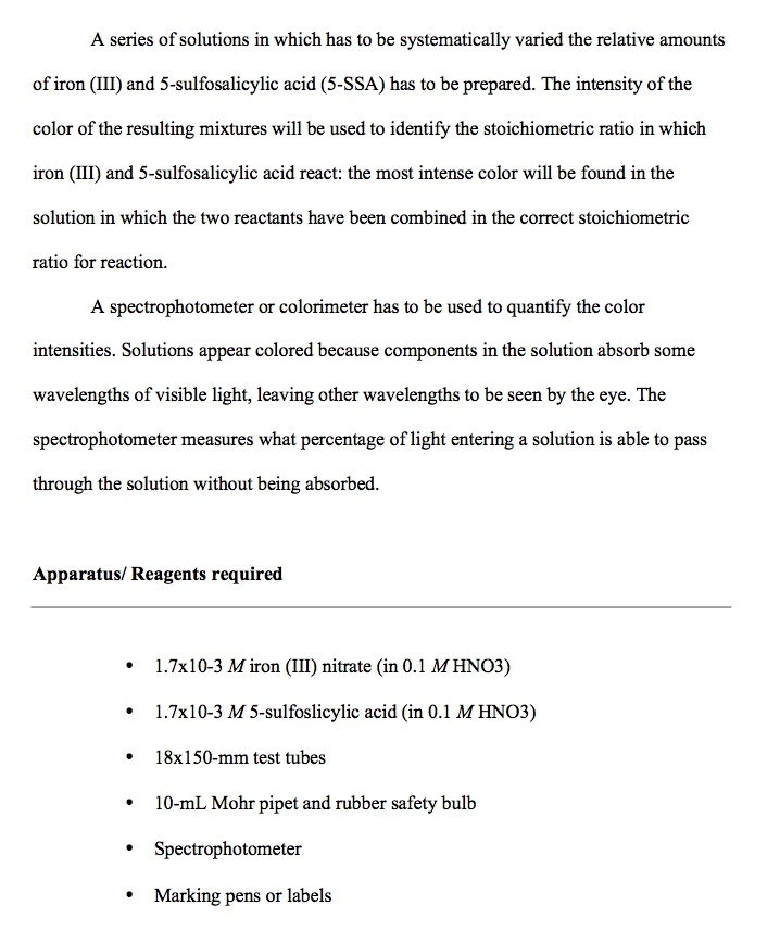 chemistry lab report example high school