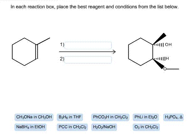 in each reaction box place the best reagent and conditions from the list below oh-#4