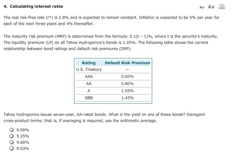 Maturity risk premium calculator