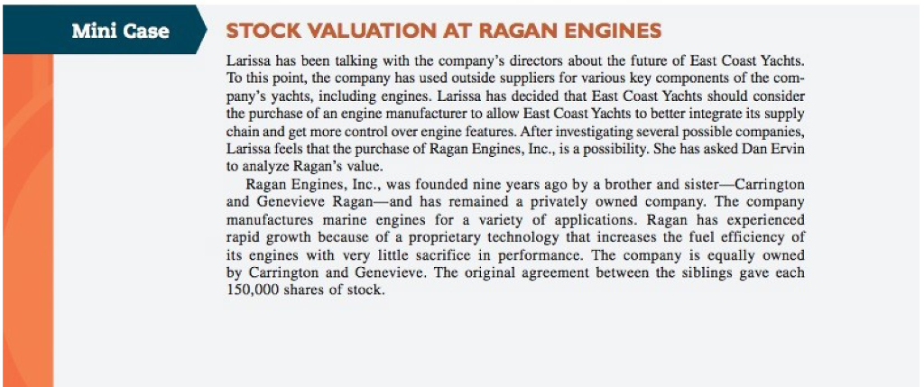 chapter 7 case study stock valuation at ragan inc