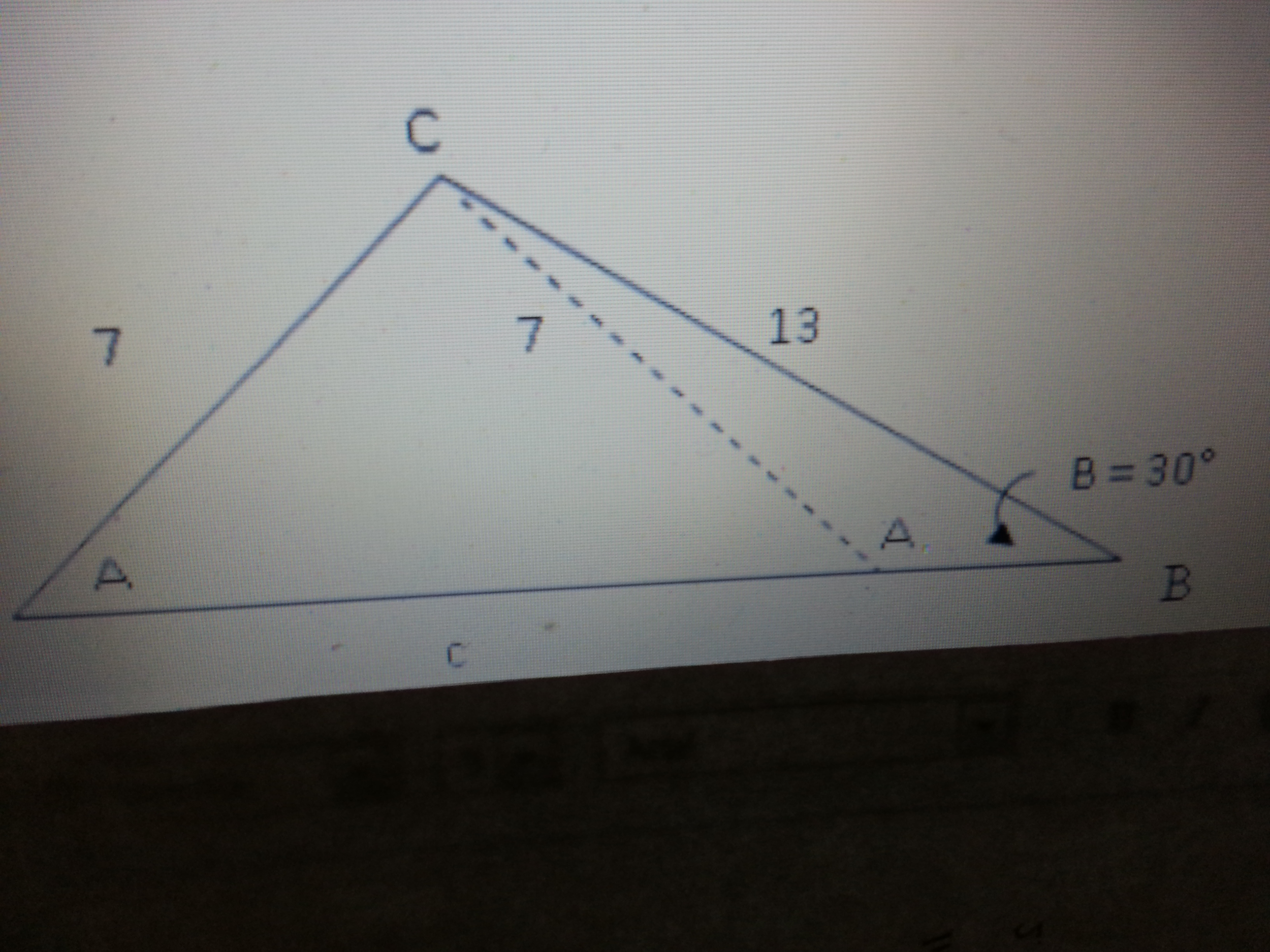 In triangle ABC, we are told that side a = 10, b =