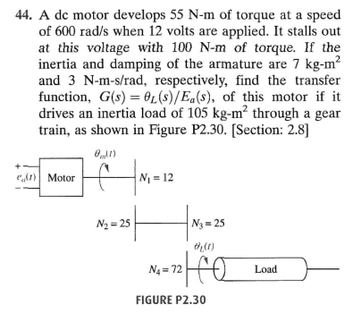 A dc motor develops 55 N-m of torque at a speed of