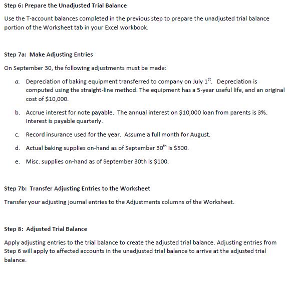 solved step 6 prepare the unadjusted trial balance use t. Black Bedroom Furniture Sets. Home Design Ideas