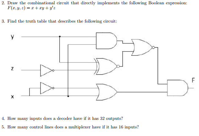 Solved 2 draw the combinational circuit that directly im - Table circuit ...