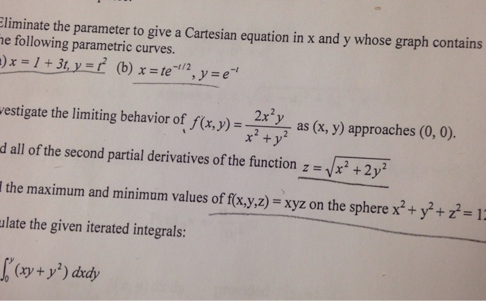 Eliminate the parameter and write a rectangular equation for