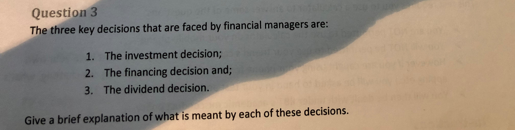 Key decisions 1