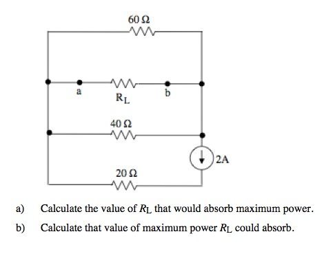 Calculate the value of RL that would absorb maximu