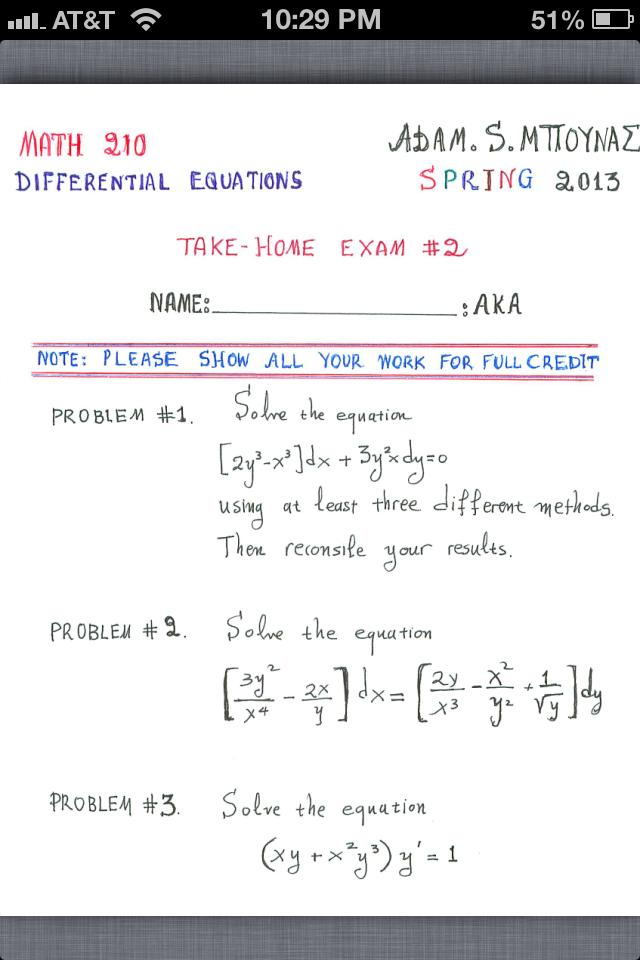 exam differential equations