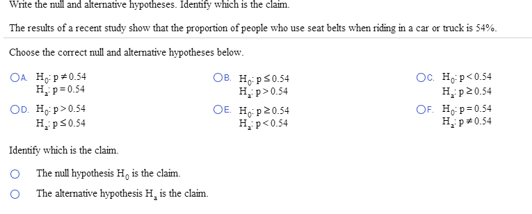 writing a null and alternative hypothesis