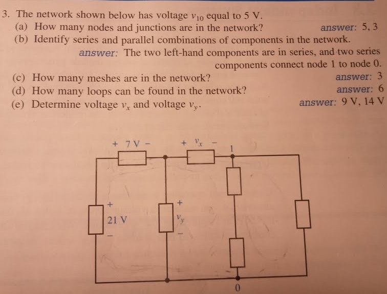 The network shown below has voltage v10 equal to 5