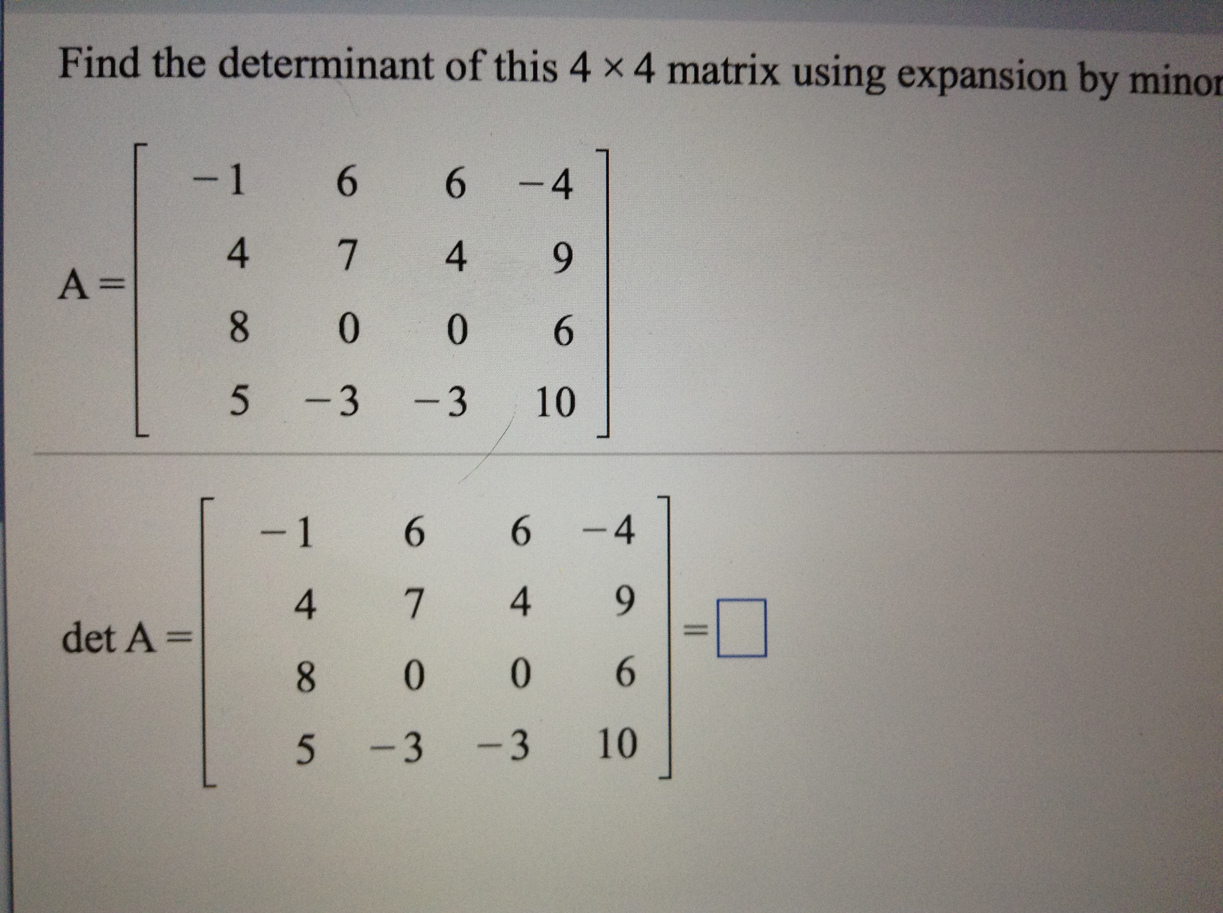How To Find Determinant 4x4