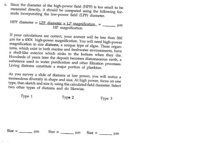 Solved: Since The Diameter Of The High-power Field (HPF) I