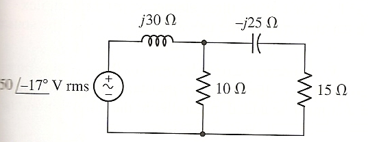 Image for Calculate the complex power delivered to each passive component of the circuit below, and determine the powe