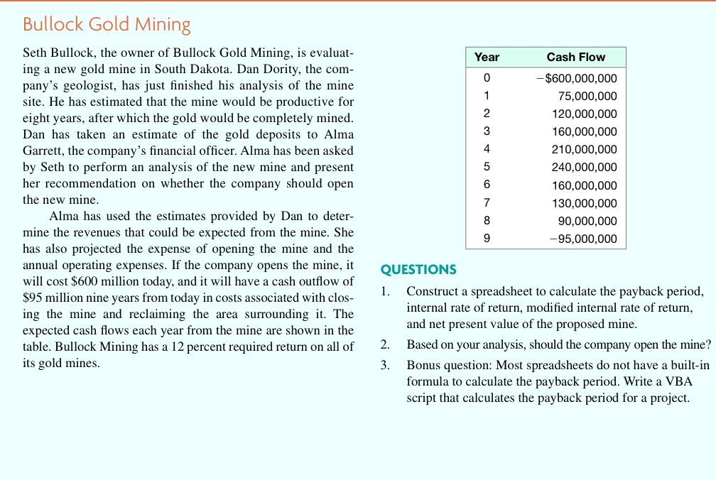 Corporate finance ross mini case 8ed