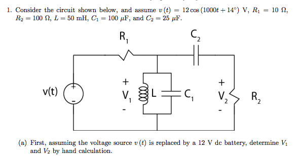 Consider the circuit shown below, and assume v(t)