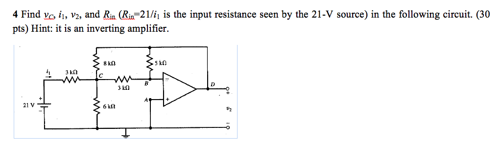 Find vc, i1, v2, and Rin (Rin = 21/i is the input