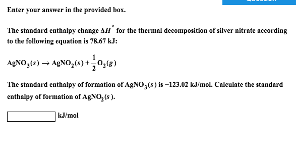 enthalpy of decomposition of calcium carbonate value