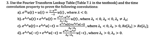 Use the Fourier Transform Lookup Table (Table 7.1