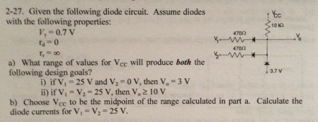 Given the following diode circuit. Assume diodes w