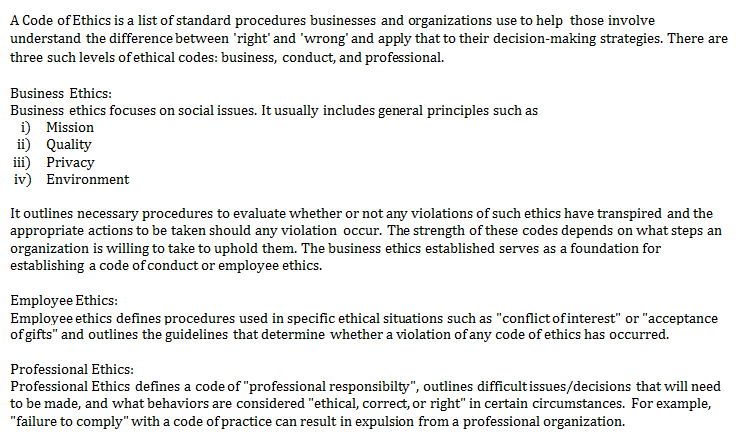 Consider The Code Of Ethics Below List Some Of Th Chegg