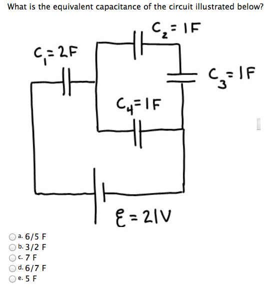 solved  what is the equivalent capacitance of the circuit