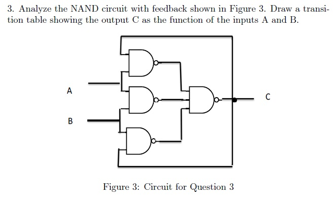 Analyze the NAND circuit with feedback shown in Fi