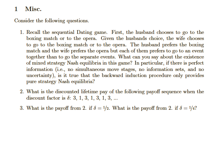 The dating game question