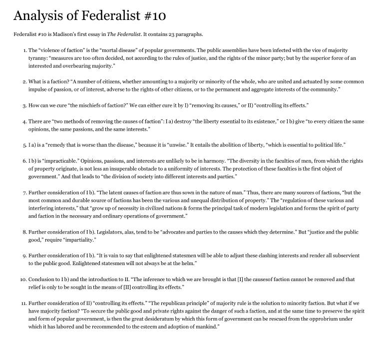 federalist papers 10 simplified