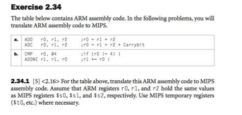 The table below contains ARM assembly code. In the