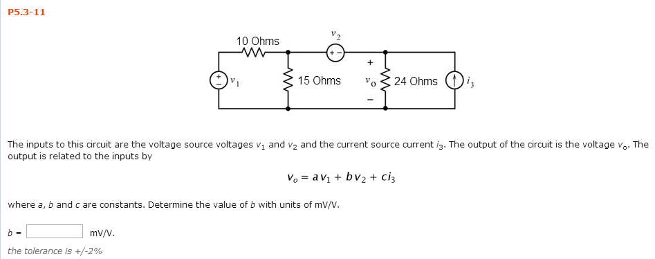 solved the inputs to this circuit are the voltage source