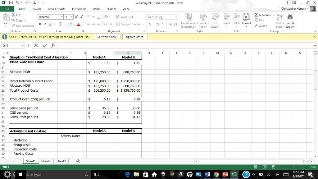 activity based costing excel template images avery