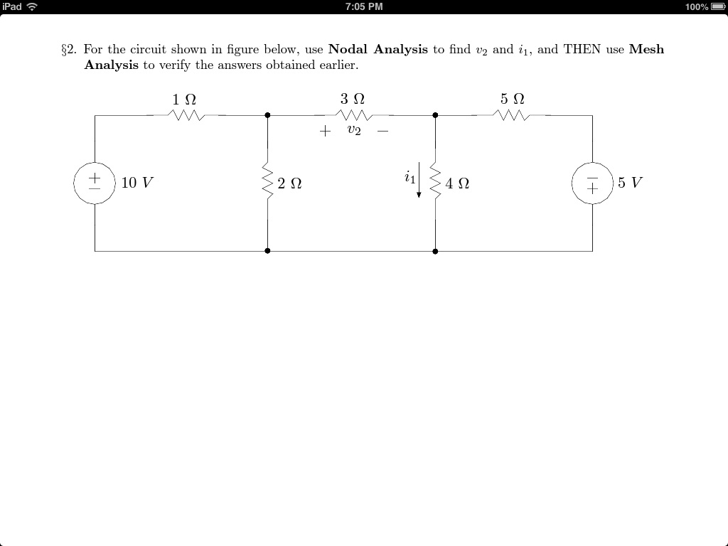 For the circuit shown in figure below, use Nodal A