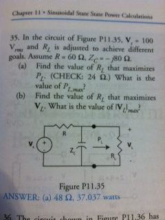 In the circuit of Figure P11.35, V1 = 100 V rms an