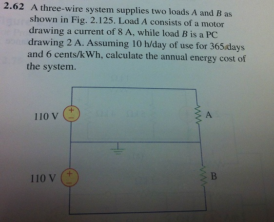 A three-wire system supplies two loads A and B as