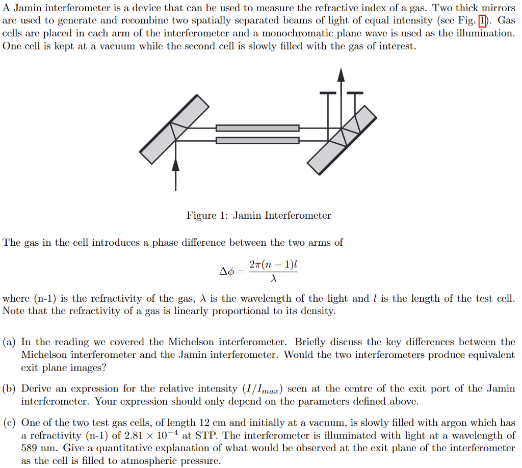 Solved: A Jamin Interferometer Is A Device That Can Be Use ...