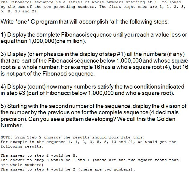 Solved The Fibonacci Sequence Is A Series Of Whole Number
