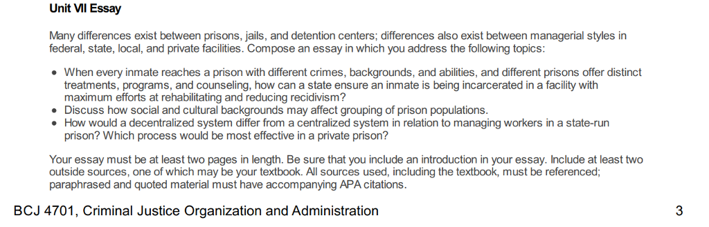 essay topics on prisons