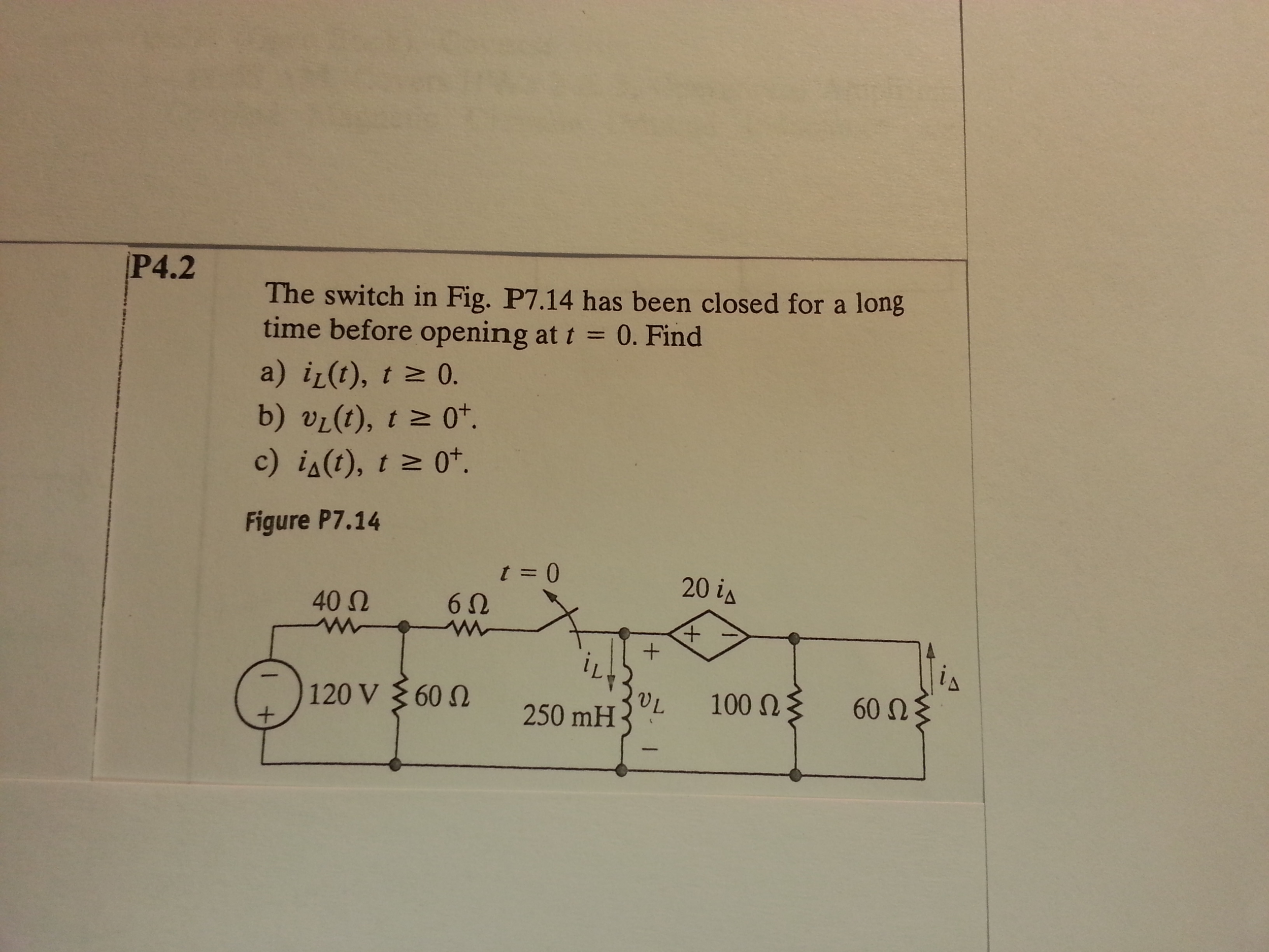 The switch in Fig. P7.14 has been closed for a lon