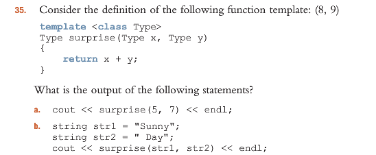 Solved 35 consider the definition of the following funct for What is template function