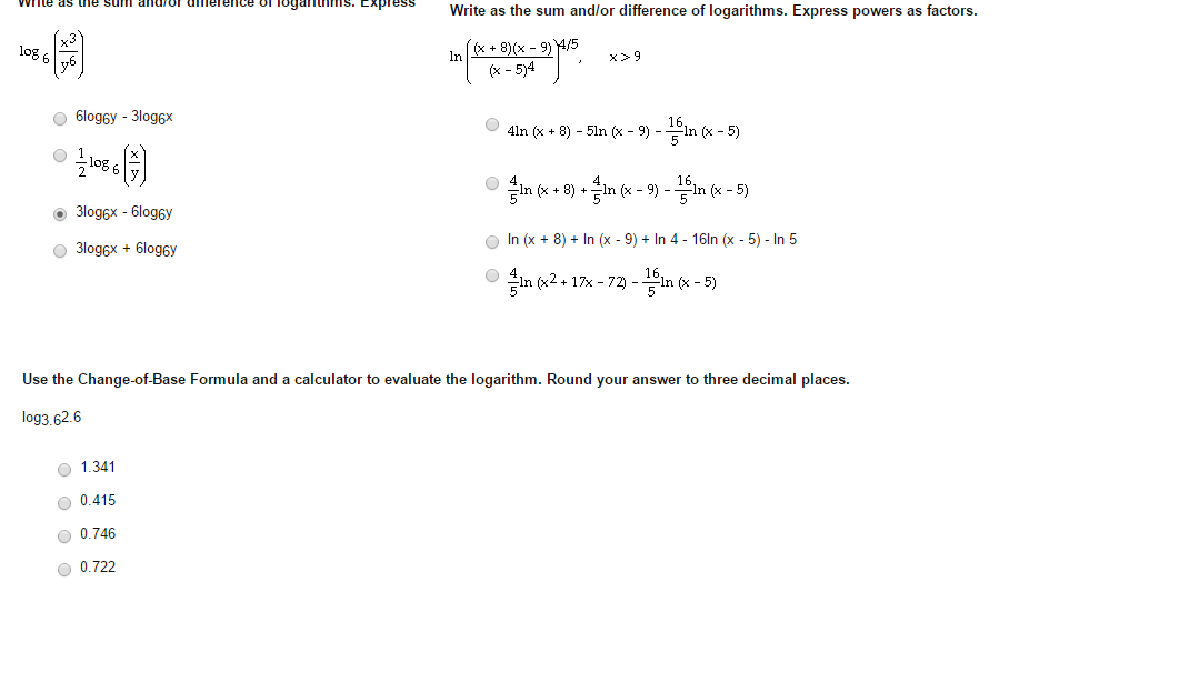 Write as a sum, difference, or multiple of logarithms.?