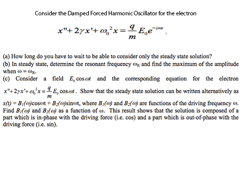 Consider the Damped Forced Harmonic Oscillator for