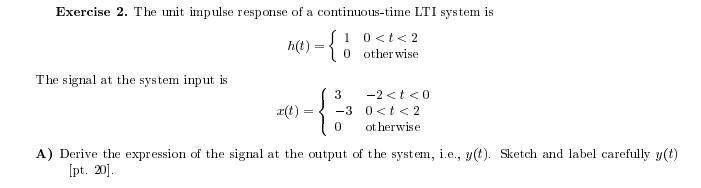 The unit impulse response of a continuous-time LTI