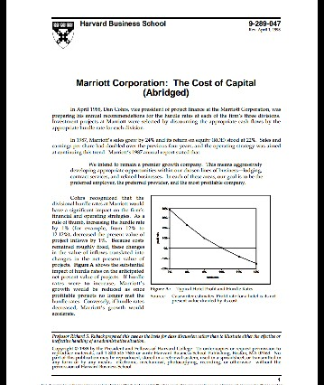 "Hbs Case ""Marriott Corporation: the Cost of Capital"""