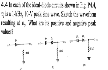 In each of the ideal-diode circuits shown in Fig.