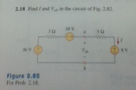 Find I and Vab in the circuit of Fig 2.82. Figure