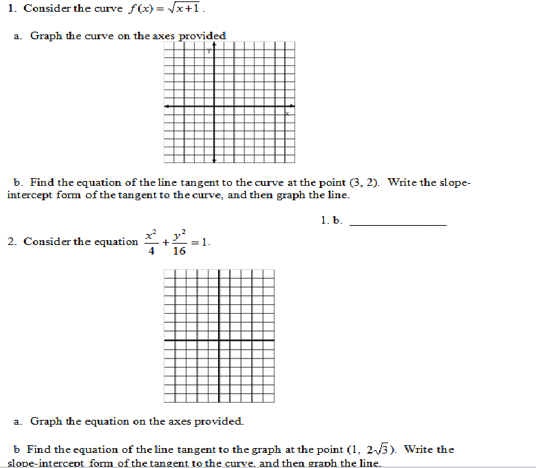 Write an equation for the line tangent to the graph of f at x = e^2?