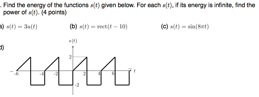 Find the energy of the functions s(t) given below.