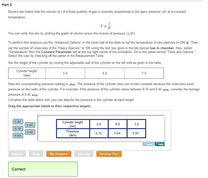 Solved: PhET Simulation Gas Properties Boyle's Law. I Don ...