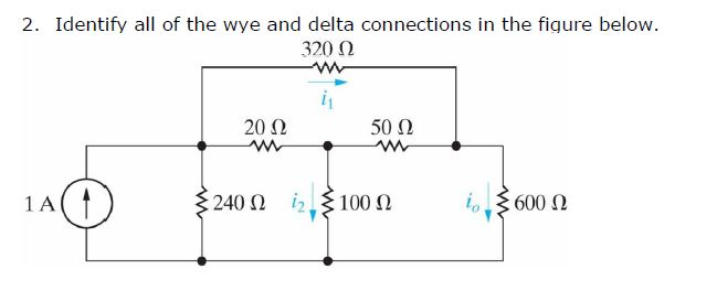 Identify all of the wye and delta connections in t