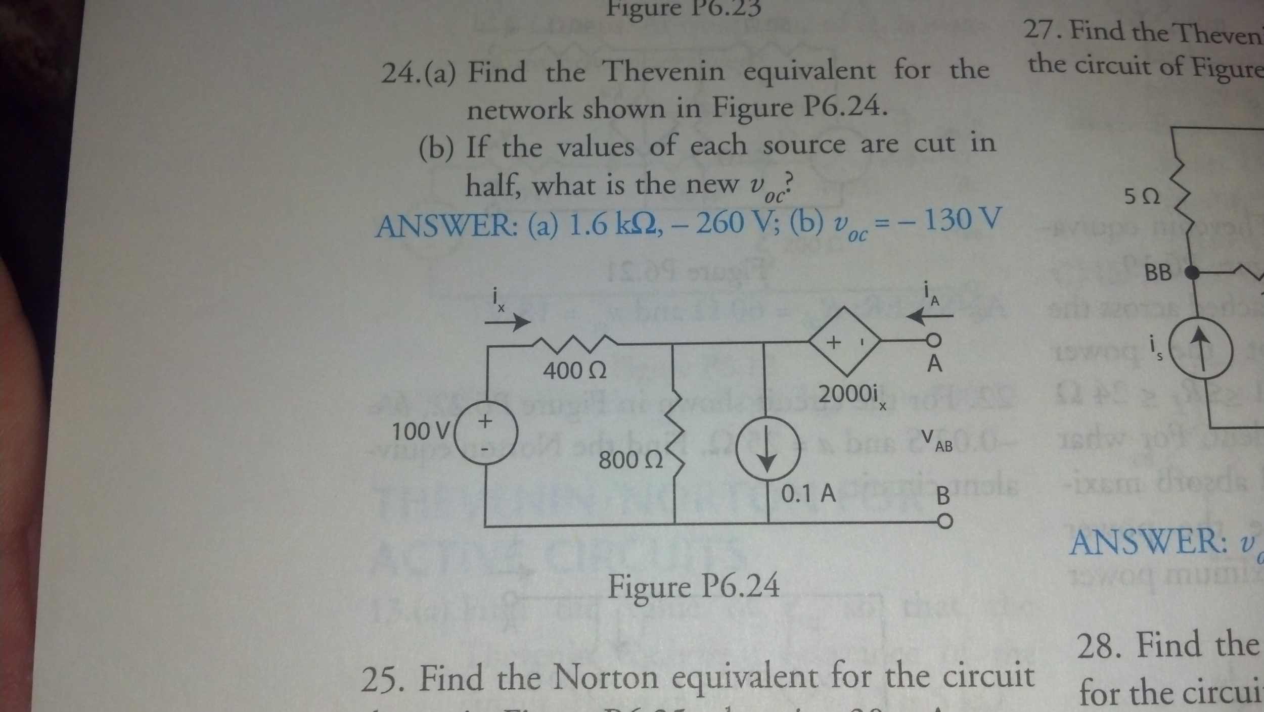 Find the Thevenin equivalent for the network shown